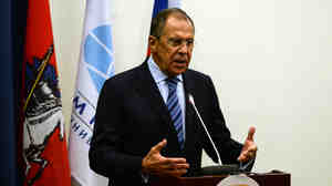 """Russian Foreign Minister Sergei Lavrov called Monday for a cease-fire in Ukraine, but demanded that Ukrainian troops leave positions from which they can """"harm the civilian population."""" His comments come ahead of talks in Minsk, Belarus, involving Ukraine, Russia, Russia-backed separatists and international monitors."""