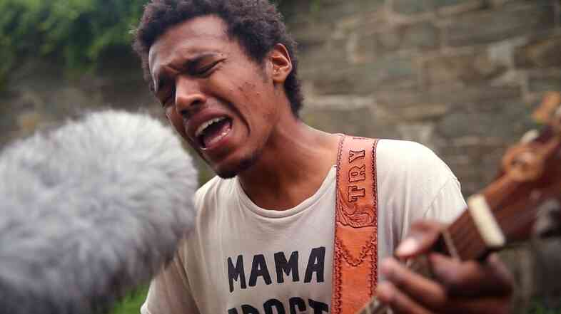 Benjamin Booker performs in Fort Adams State Park during the 2014 Newport Folk Festival.