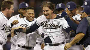 "Yasmani Grandal is swarmed by teammates after hitting a walk-off single to beat the Los Angeles Dodgers on Friday. But commentator Frank Deford wonders why ""walk-off"" has become such a ubiquitous term."