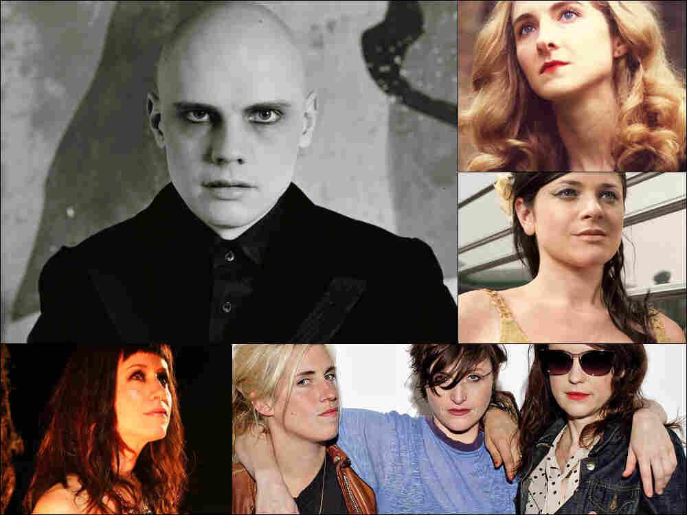 Clockwise from upper left: Billy Corgan of The Smashing Pumpkins, Alaina Moore of Tennis, Gemma Ray, Ex Hex, Orenda Fink.