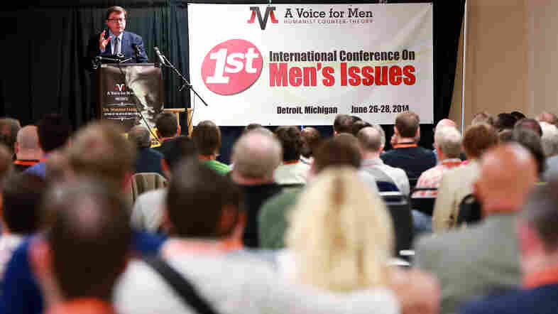 """Mike Buchanan gives his presentation, """"Let's Get Political,"""" at the International Conference on Men's Issues, held in June near Detroit. Buchanan founded a political party in the U.K., Justice for Men & Boys, in 2013."""