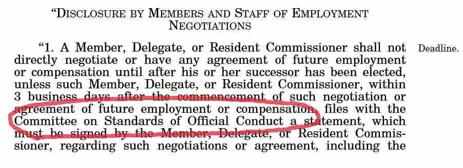 The original draft of the Honest Leadership and Open Government Act of 2007 specified that job negotiation filings would be made with the Clerk of the House, and therefore available to the public. But the final version sent filings to the House Ethics Committee, where most documents remain secret.