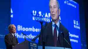 Former New York City Mayor Michael Bloomberg speaks on behalf of Bloomberg Philanthropies Aug. 5 during the U.S.-Africa Business Forum. Bloomberg had been expected to commit most of his post-mayoral time to his charitable work, but said he found the day-to-day dealings at his media company to be too intriguing to stay away.