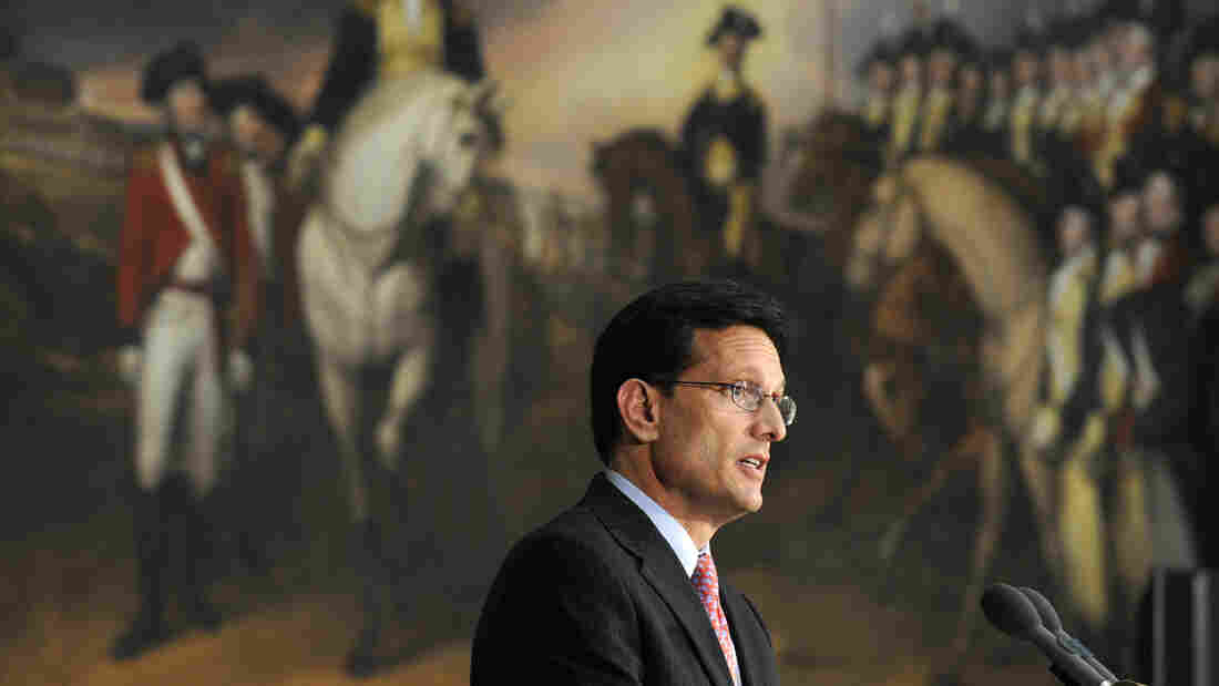Former House Majority Leader Eric Cantor speaks during a Capitol ceremony earlier this summer. Cantor lost his GOP primary in June to political newcomer David Brat.