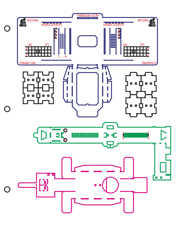Origami microscope: Lines on the paper show you how to fold up and assemble the microscope.