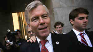 Former Virginia Gov. Bob McDonnell leaves the U.S. District Court for the Eastern District of Virginia with his son Bobby (right) on Thursday in Richmond, Va. McDonnell was found guilty on 11 of 14 charges related to taking gifts from a businessman in exchange for political favors. His wife, Maureen, was found guilty on nine of 14 charges.