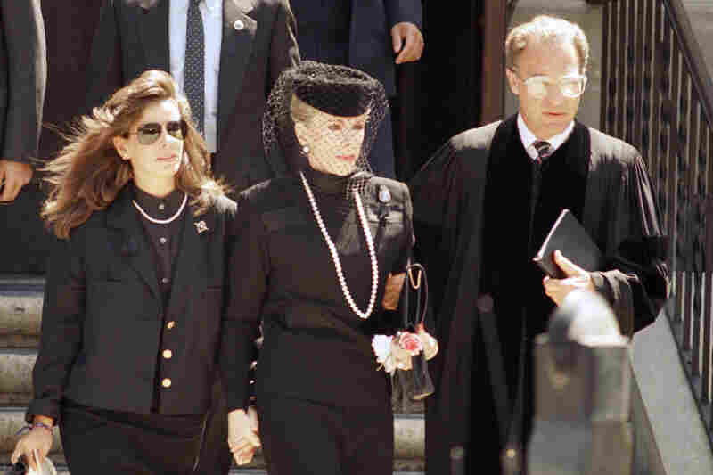 Rivers and her daughter, Melissa, leave the memorial service for Edgar Rosenberg, Joan's husband and Melissa's father, in Los Angeles on Aug. 16, 1987. Rosenberg committed suicide.