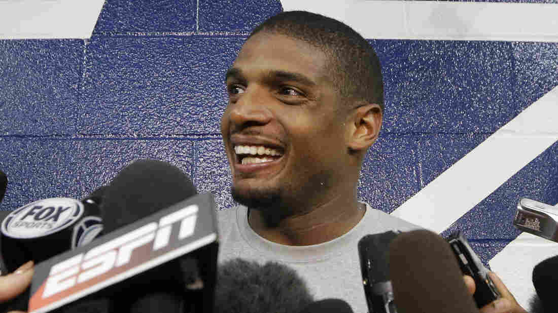 Dallas Cowboys practice squad player defensive end Michael Sam at the team's headquarters on Wednesday in Irving, Texas.