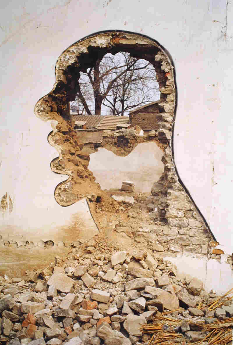 Zhang Dali; Demolition 2, 1999. Zhang's artwork was ubiquitous in the late 1990s around Beijing's countless demolition sites as miles and miles of old housing was destroyed.