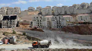 Israel declared as state land this week nearly 1,000 acres in the West Bank, beginning the process to build settlements in more areas Palestinians say should be part of a future Palestinian country. Here, a general view of construction of new housing units in the Israeli settlement of Beitar Illit, which borders some of the appropriated land.