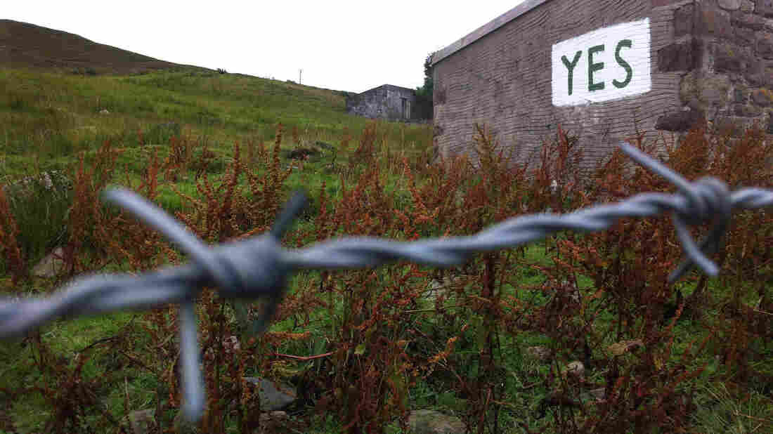 "On the Isle of Skye, a hand-painted sign says ""Yes"" to Scottish independence."