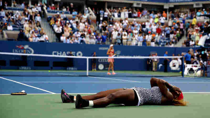 Serena Williams reacts after defeating Caroline Wozniacki of Denmark to win their women's singles final match of the 2014 U.S. Open on Sunday. The win was Williams' 18th Grand Slam title.