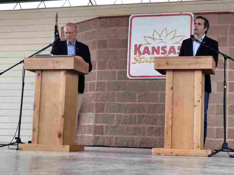 Republican Sen. Pat Roberts (left) debates independent candidate Greg Orman at the Kansas State Fair on Saturday.