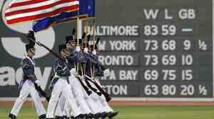 "The Star-Spangled Banner, played before every baseball game, has become so tied to the sport that an old joke asks, ""What are the last two words of the national anthem?"" and answers, ""Play ball!"""