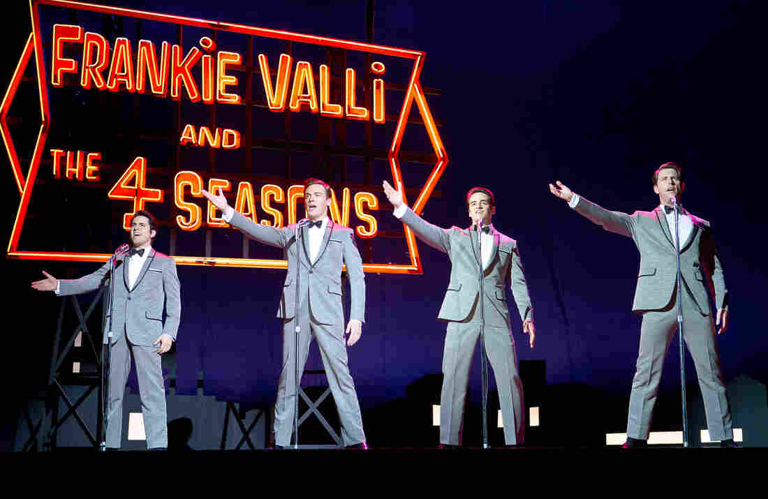 Along with the Broadway play, the new film Jersey Boys highlights Bob Gaudio's role in The Four Seasons: writing most of the group's hits. In the movie, John Lloyd Young stars as Frankie Valli (left), Erich Bergen as Bob Gaudio (second from left), Vincent Piazza as Tommy DeVito (second from right), and Michael Lomenda as Nick Massi (right).