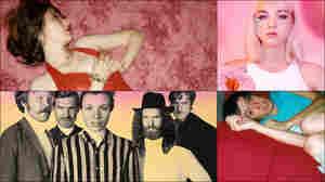 Clockwise from upper left: Karen O, Lowell, cover art for Bellows, Amason