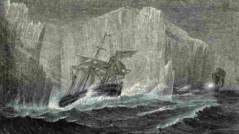 The Erebus and the Terror among icebergs, as illustrated in The Polar World by G. Hartwig in 1874. Sir John Franklin, British naval officer and arctic explorer, commanded the 1845 expedition of the ships to search for the Northwest Passage. All members of the expedition perished.