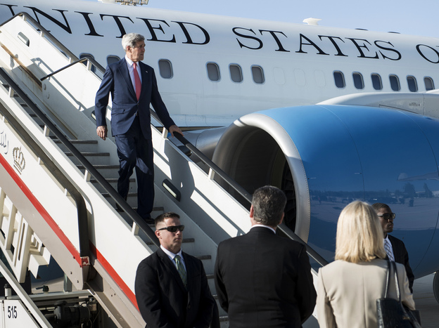 Secretary of State John Kerry arrives at Queen Alia International Airport in Amman, Jordan, on Wednesday, ahead of a stop in Iraq. Kerry is hoping to nail down support for a U.S. plan to combat the Islamic State insurgency in Iraq and Syria.