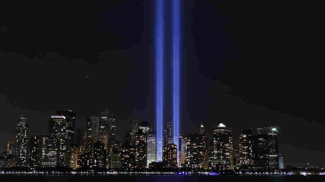 """Tribute in Light"" illuminates the sky over lower Manhattan on the ninth anniversary of the attack on the World Trade Center in New York, Sept. 11, 2010."