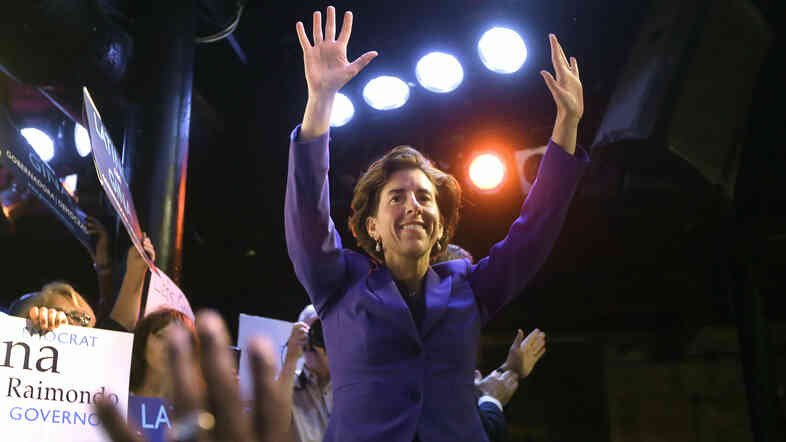 Rhode Island Democratic gubernatorial nominee Gina Raimondo waves as she takes the stage to address supporters during a primary election night watch party Tuesday in Pawtucket.