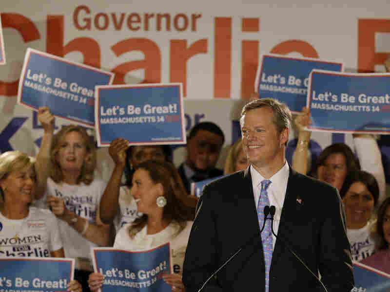 Massachusetts Republican gubernatorial candidate Charlie Baker speaks to supporters during his primary election night victory rally Tuesday in Boston.