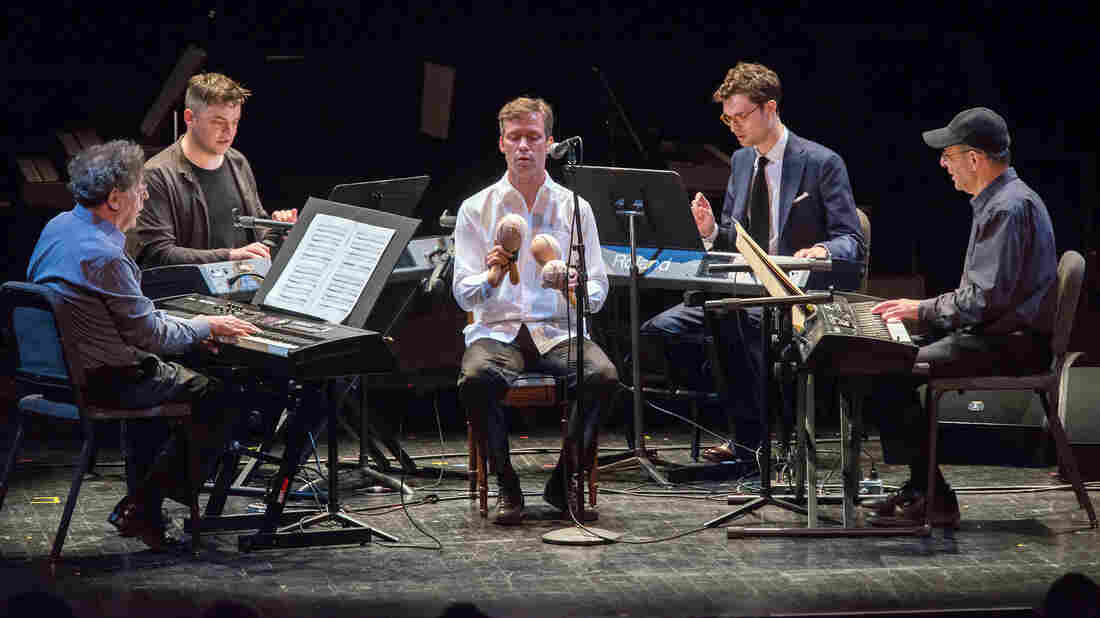 Four Organs by Steve Reich was performed Tuesday at the Brooklyn Academy of Music as part of the 50th anniversary of the Nonesuch label (from left: Philip Glass, Nico Muhly, David Cossin, Timo Andres and Steve Reich).