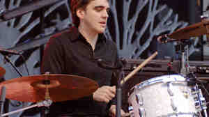 Jim Eno, performing live with Spoon, at the Greek Theatre in Berkeley, Calif.