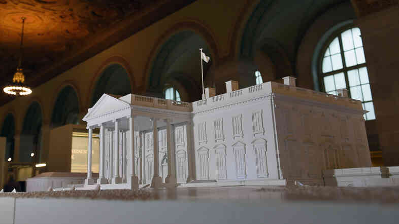 A model of the White House is seen in the renovated White House Visitor Center