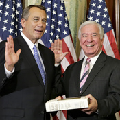 Rep. Nick Rahall, D-W.Va., (right) poses with House Speaker John Boehner at the start of his 19th term last year. Rahall is running for re-election in a district that President Obama lost by 32 points in 2012.