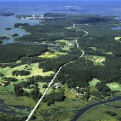 An aerial view of Posiva Oy's prospective nuclear waste repository site in Olkiluoto, Finland.
