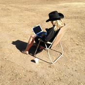 """Nico Sell works in her """"office,"""" creating an app that helps users avoid data tracking."""