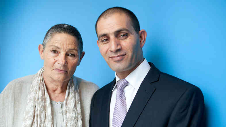 Robi Damelin, left, is an Israeli whose son was fatally shot by a Palestinian in 2002. Bassam Aramin is a Palestinian whose daughter was shot dead by Israeli police in 2007. They belong to the Parents Circle, a group of mothers and fathers who have lost children and seek an end to the Israeli-Palestinian conflict.