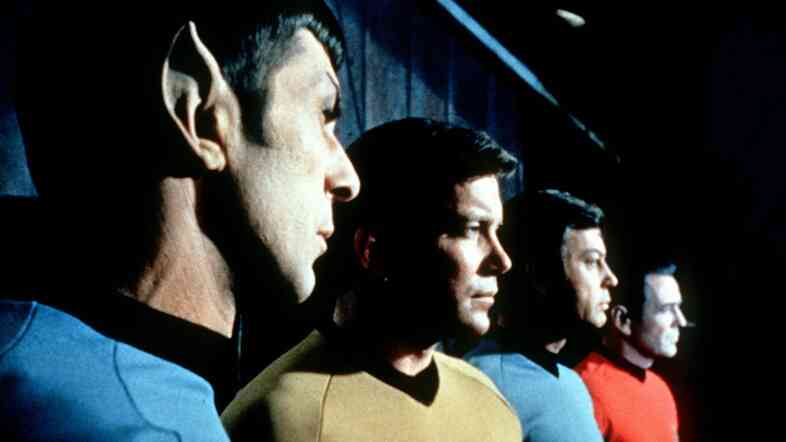 Actors in the TV series Star Trek (from left) Leonard Nimoy as Commander Spock, William Shatner as Captain Kirk, DeForest Kelley as Doctor McCoy and James Doohan as Commander Scott.