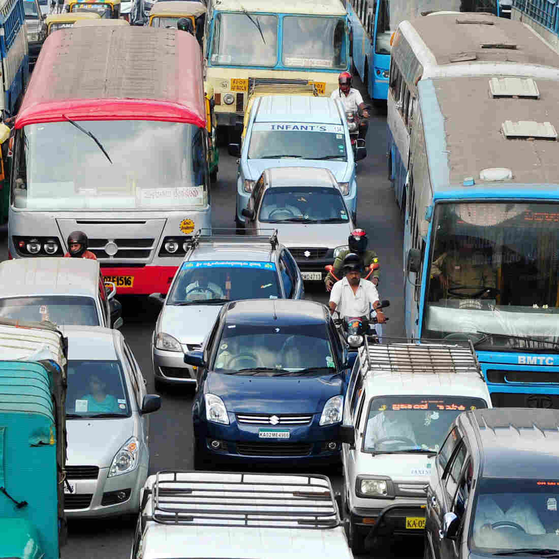 Lanes? What lanes? Bangalore's epic traffic jams make it hard for ambulances to get through.