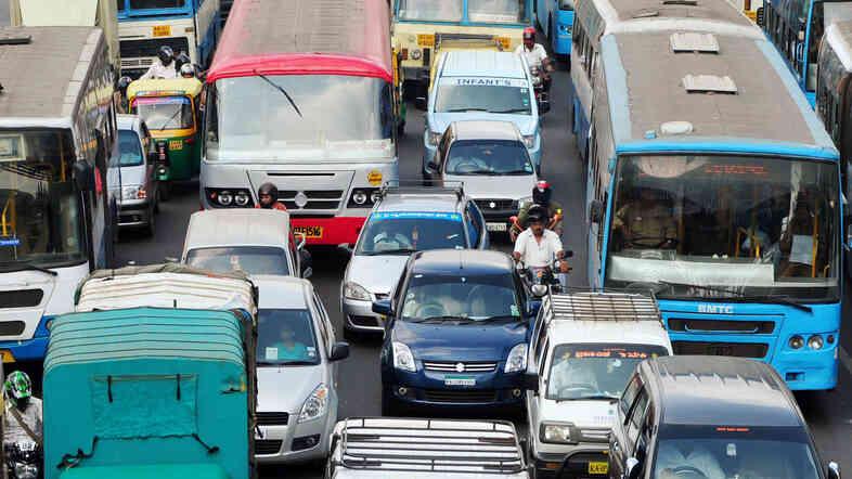 Lanes? What lanes? Bangalore's epic traffic jams make it hard for ambulances to get through.