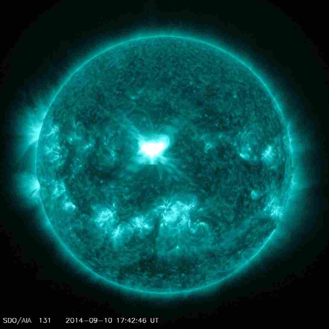 NASA's Solar Dynamics Observatory spacecraft captures Wednesday's solar flare eruption.