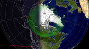 """The """"Aurora Forecast"""" from NOAA shows areas of the U.S. and Canada where the northern lights could have been visible Friday night."""