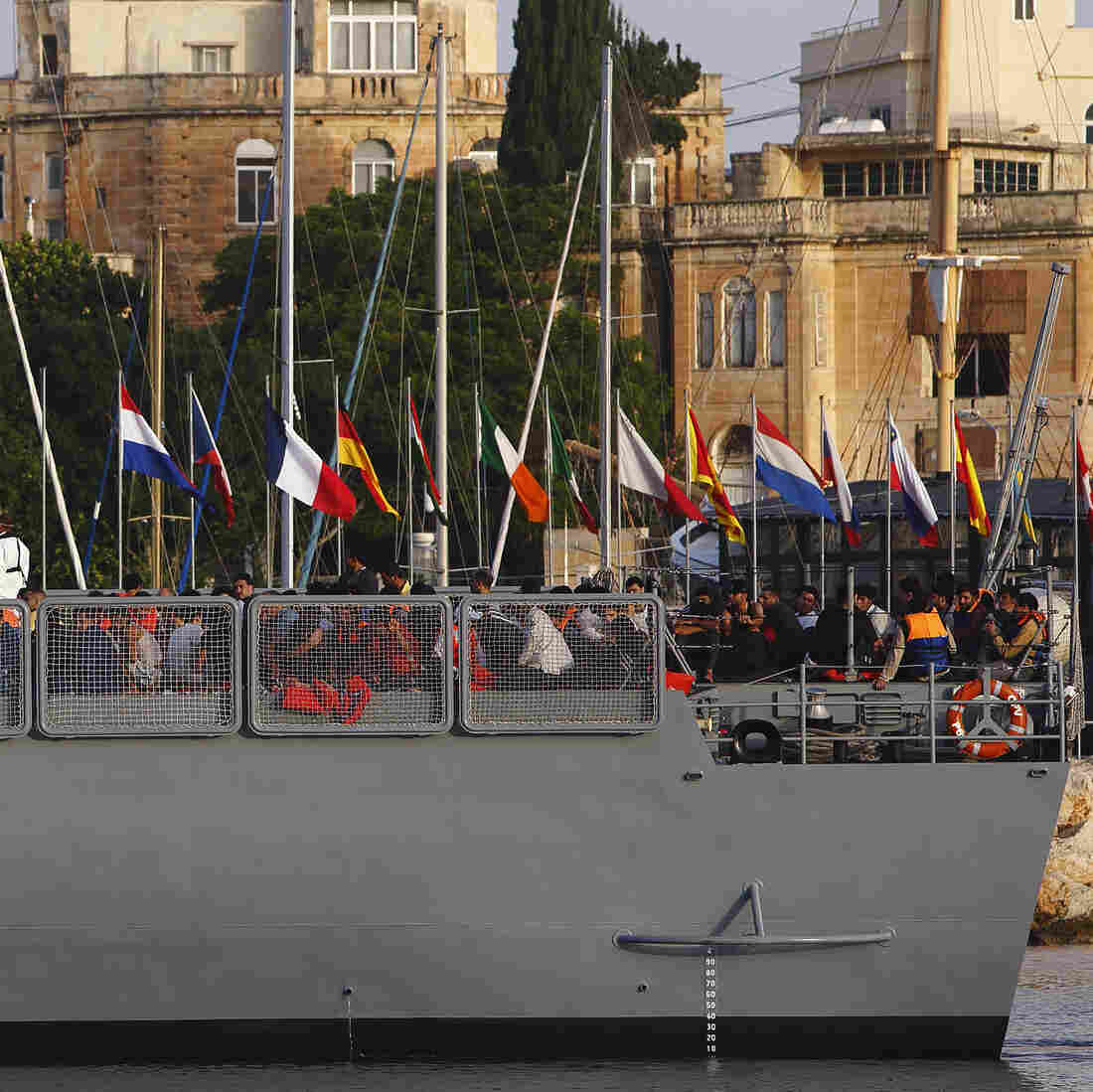 An Armed Forces of Malta ship carrying rescued migrants arrives at an AFM base in Valletta last October. The number of migrants trying to make their way from the North African coast to European waters has ballooned in recent years.