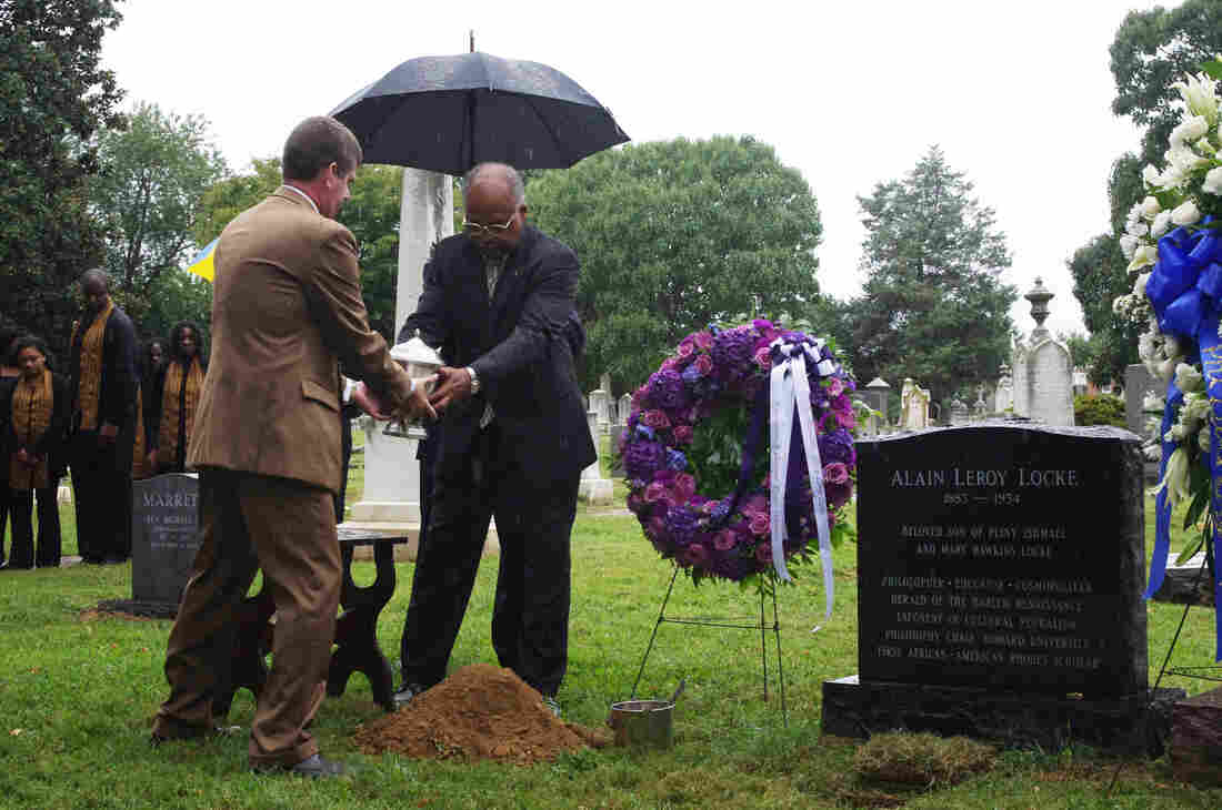 Alain Locke is buried at the Congressional Cemetery in Washington, D.C. He lies near many of the nation's early congressmen and next to the first director of the Smithsonian's Museum of African Art.