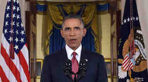 President Obama addresses the nation from the Cross Hall in the White House on Sept. 10. Obama ordered the United States into a broad military campaign to degrade and ultimately destroy militants in two volatile Middle East nations, authorizing airstrikes inside Syria for the first time, as well as an expansion of strikes in Iraq.