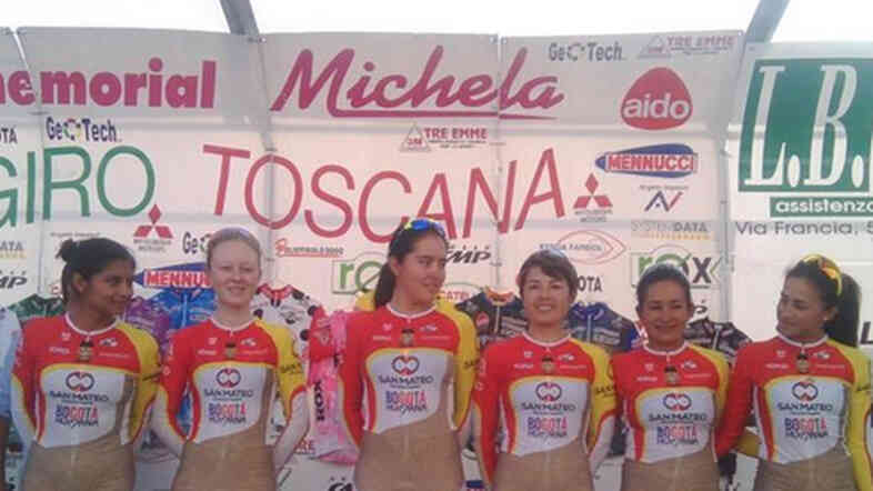 This photo of a women's pro cycling team from Colombia raised both eyebrows and the question of who designed the uniforms. One of the team's riders reportedly created the design.