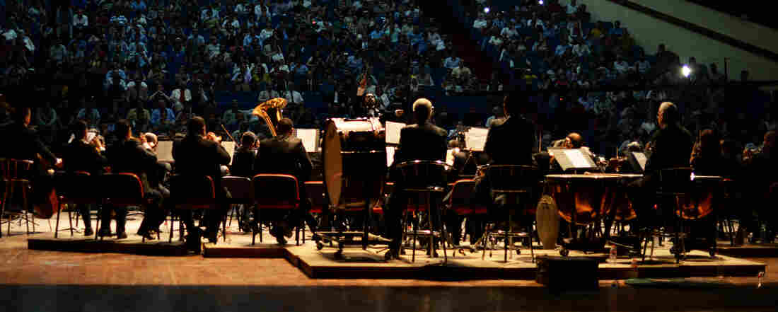 The Iraqi National Symphony Orchestra performs in Baghdad. The concert was promoted by word of mouth to avoid being targeted by bombs.