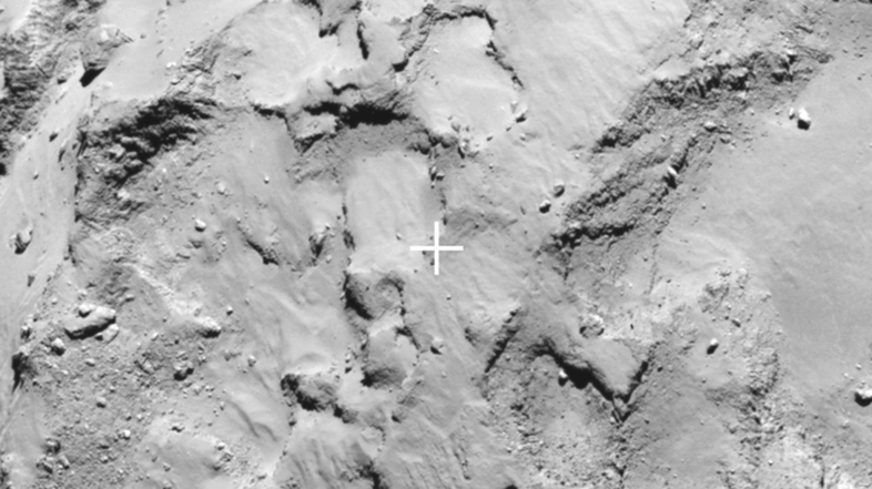 "Closeup of Philae's primary landing Site J, which is located on the ""head"" of Comet 67P/Churyumov–Gerasimenko. The image was taken by Rosetta's OSIRIS narrow-angle camera on Aug. 20."