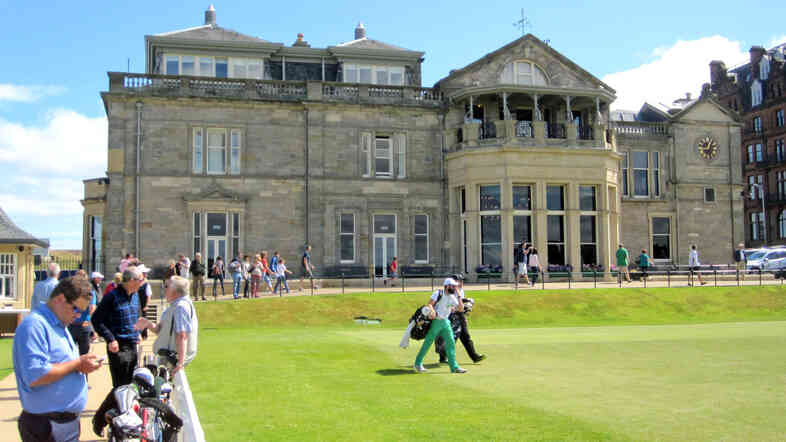The clubhouse of the Royal and Ancient Golf Club of St. Andrews sits just off the first tee. The course itself is open to the public — women as well as men. But women have never been allowed to join the club since its founding in 1754, and are not allowed to enter the clubhouse, even as guests.