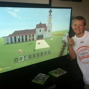 Will Davidson and his Minecraft creation, modeled off the Santa Cruz Mission