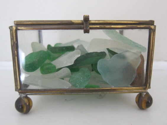 Clampitt's Stockbridge house is full of objects that likely inspired the poet, like this beach glass collection.