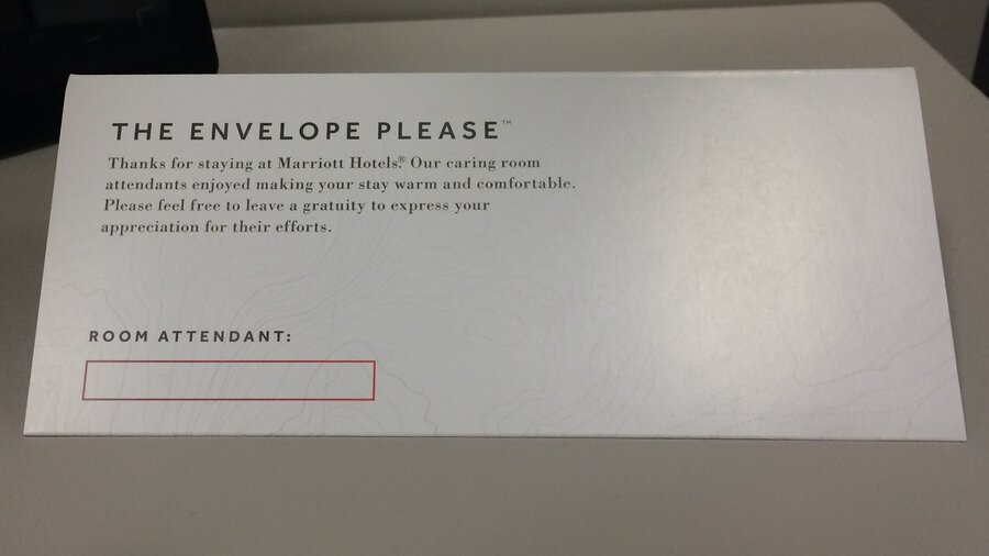 Marriott S New Envelope For Room Tips Stirs Debate