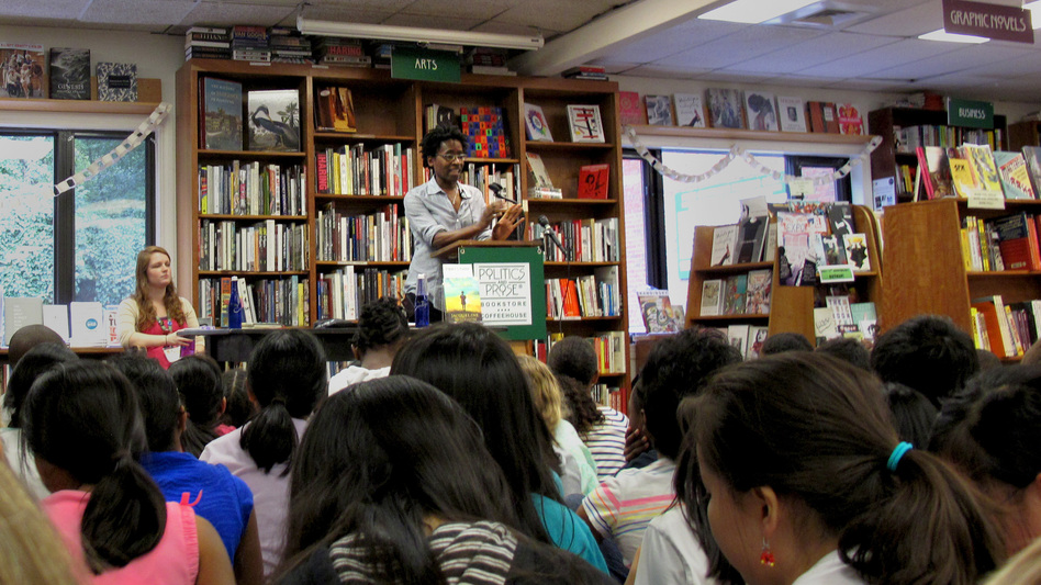 Author Jacqueline Woodson reads from her newest novel, Sept. 15. (Kat Chow/NPR)