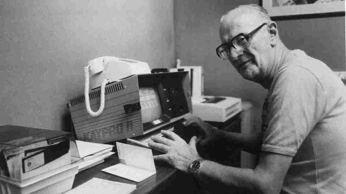 British science fiction author Arthur C. Clarke using a Kaypro II in 1985.