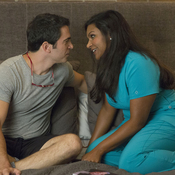 Danny (Chris Messina) and Mindy (Mindy Kaling) find themselves in a new position in the premiere of The Mindy Project.
